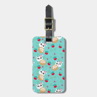 Teal Floral Panda Dumpling Pattern Luggage Tag
