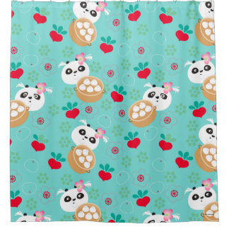 Teal Floral Panda Dumpling Pattern Shower Curtain