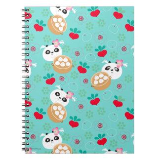 Teal Floral Panda Dumpling Pattern Spiral Notebook