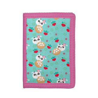 Teal Floral Panda Dumpling Pattern Tri-fold Wallet
