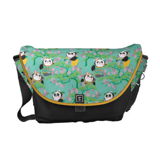 Teal Floral Panda Pattern Courier Bag