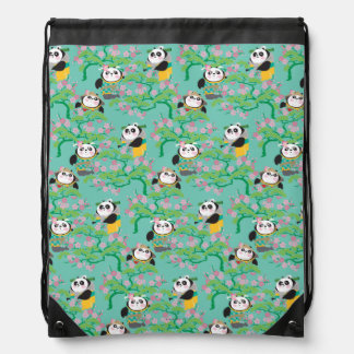 Teal Floral Panda Pattern Drawstring Bag