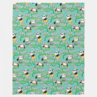 Teal Floral Panda Pattern Fleece Blanket