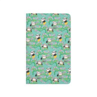Teal Floral Panda Pattern Journal