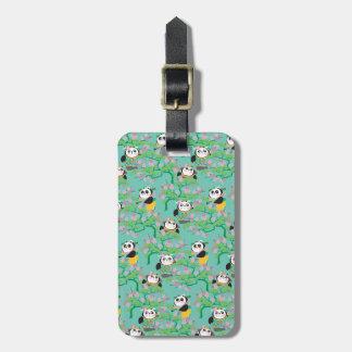 Teal Floral Panda Pattern Luggage Tag