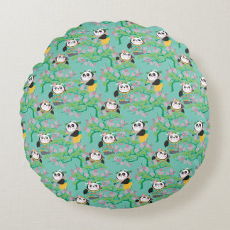 Teal Floral Panda Pattern Round Cushion