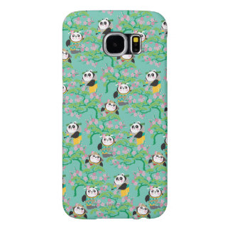 Teal Floral Panda Pattern Samsung Galaxy S6 Cases