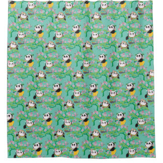 Teal Floral Panda Pattern Shower Curtain