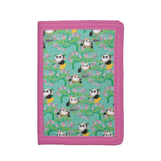 Teal Floral Panda Pattern Trifold Wallets