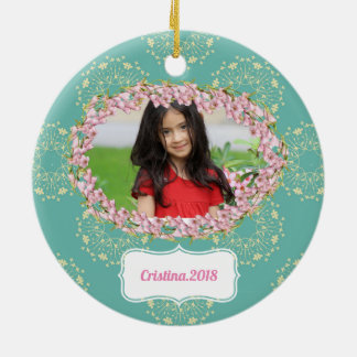 Teal Floral Pattern Personalized Framed Christmas Ornament