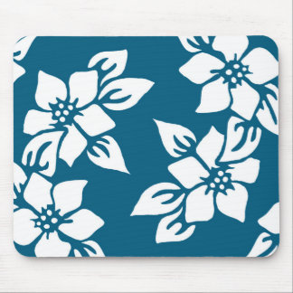 Teal Floral Print Mouse Pad