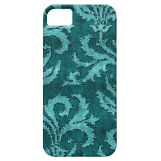 Teal Floral Sequin Glitter Velvet Look Case Barely There iPhone 5 Case