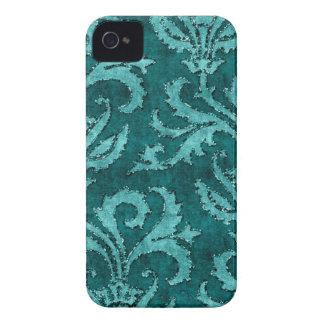Teal Floral Sequin Glitter Velvet Look Case iPhone 4 Cover
