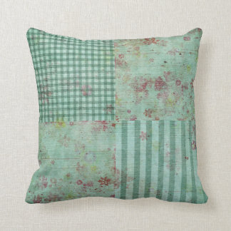Teal Floral Squares Pillow