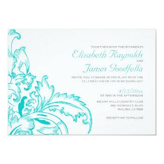 Teal Flourish Wedding Invitations Announcements