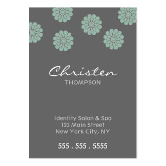 teal flower business cards