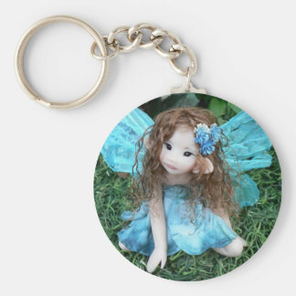 Teal Flower Faery Basic Round Button Key Ring