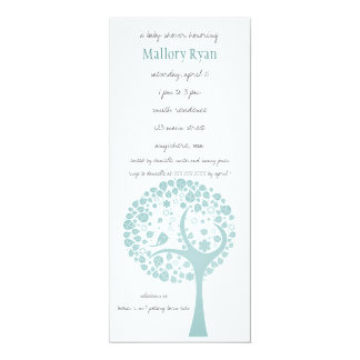 "Teal Flowering Tree Baby Shower Invitation 4"" X 9.25"" Invitation Card"