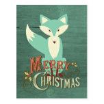Teal Fox Merry Christmas Card