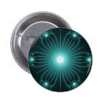 Teal Fractal Flower Button pin