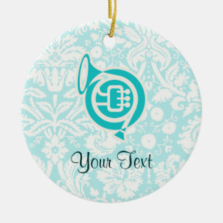 Teal French Horn Christmas Ornament