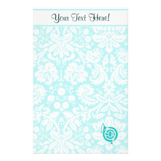 Teal French Horn Stationery