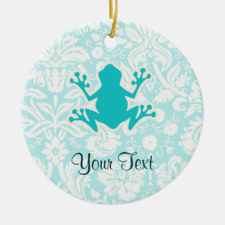 Teal Frog Double-Sided Ceramic Round Christmas Ornament