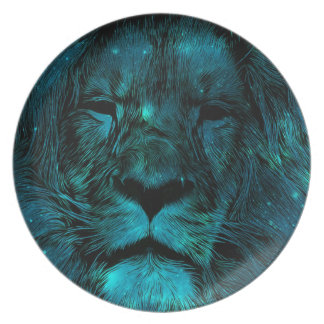 Teal Galaxy Lion Print Plate