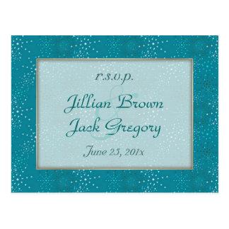 Teal Galaxy WEDDING Postcard