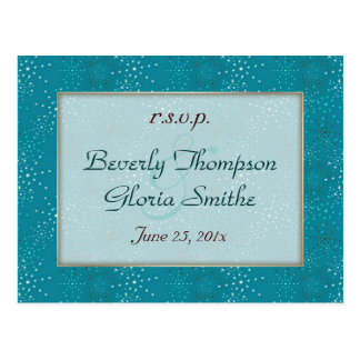 Teal Galaxy Wedding RSVP Post Cards