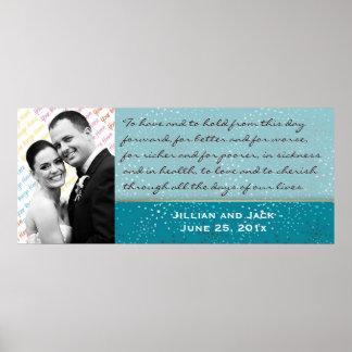 Teal Galaxy WEDDING Vows Display Posters