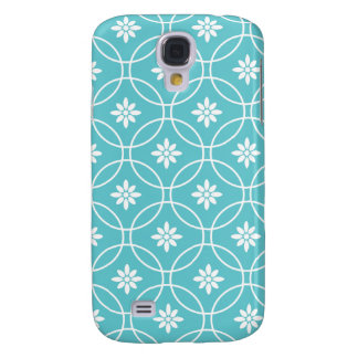 Teal Geometric Floral Pattern Galaxy S4 Case