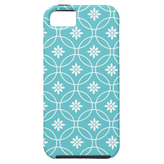 Teal Geometric Floral Pattern iPhone 5 Cases