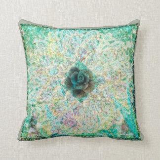 Teal Geometric Floral Pillow by Carol Zeock