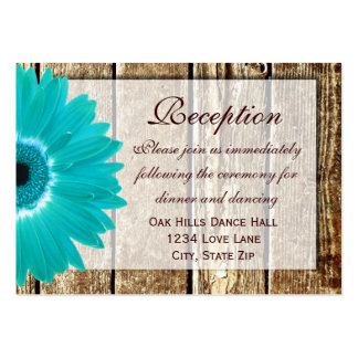 Teal Gerber Daisy Wedding Reception Direction Card Business Cards