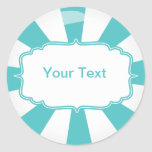 Teal Giant lollipop candy Buffet label Round Stickers