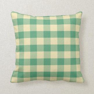 Teal gingham pillow