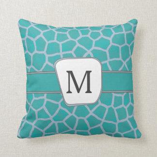 Teal Giraffe Print Custom Monogram Throw Pillow