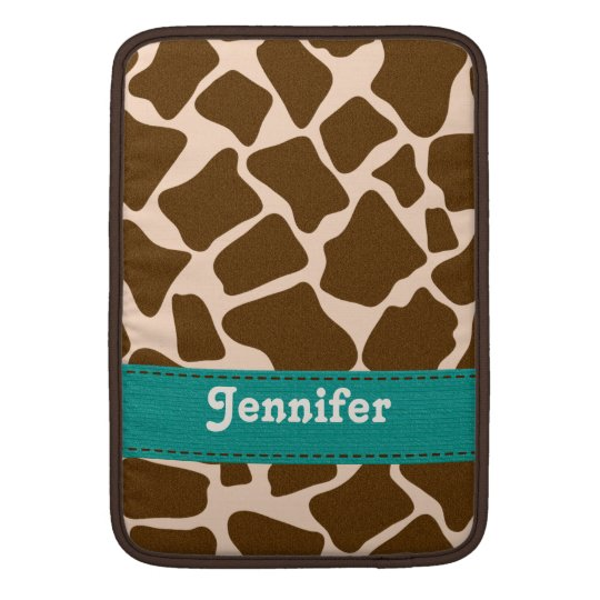 Teal Giraffe Print Macbook Air Sleeve 13 / 11 Inch