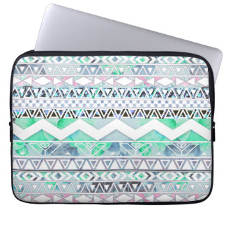 Teal Girly Floral White Abstract Aztec Pattern Laptop Sleeves