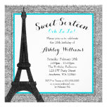 Teal Glam Paris Themed Faux Glitter Sweet 16 Personalized Invitation
