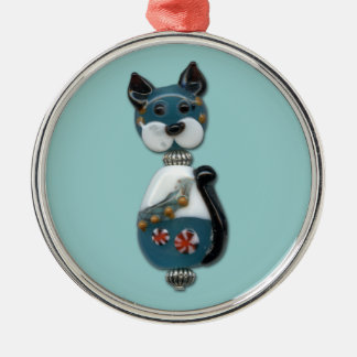Teal Glass Bead Cat Silver-Colored Round Decoration