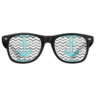 Teal glitter anchor and chevron