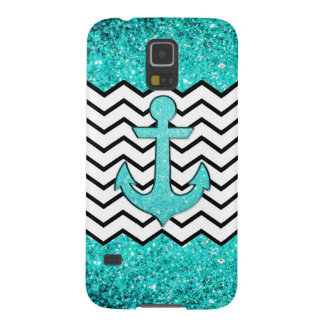 Teal glitter anchor and chevron galaxy s5 cases