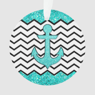 Teal glitter anchor and chevron ornament