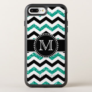 Teal Glitter, Black Chevron, Tough, Monogrammed OtterBox Symmetry iPhone 8 Plus/7 Plus Case