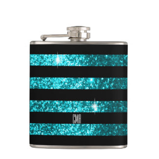 Teal Glitter & Black Stripes | DIY Monogram Hip Flask