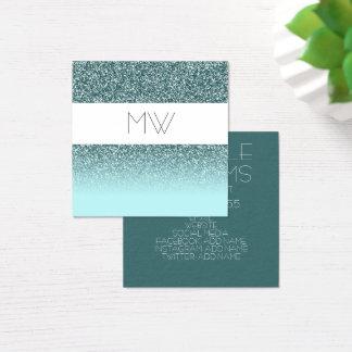 Teal Glitter Business Card