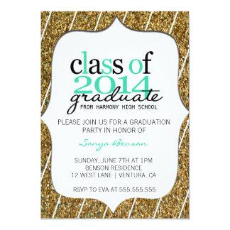 Teal Glitter Class of 2014 Graduation Invitation