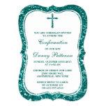 Teal Glitter Cross Holy Communion Or Confirmation 13 Cm X 18 Cm Invitation Card